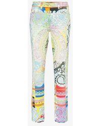 Versace - Baroque Print Kick Flare Slim Fit Jeans - Lyst