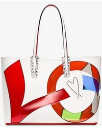 Christian Louboutin - White And Multicoloured Leather Cabata Love Tote Bag - Lyst