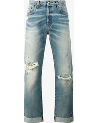 Gucci - Jeans With Embroidered Ribbon - Lyst