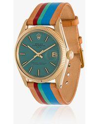 La Californienne - 14k Gold Aqua Rolex Oyster Perpetual Leather Watch - Lyst