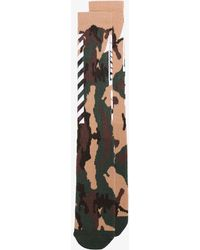 Off-White c/o Virgil Abloh - Green, Nude And Brown Camouflage Print Socks - Lyst