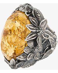 Lyly Erlandsson yellow Winter leaf engraved ring Oguw2598yu