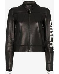 Off-White c/o Virgil Abloh - Biker Print Boxy Leather Jacket - Lyst
