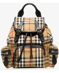 Burberry Vintage Check Small Cotton And Leather Backpack in Black - Lyst 659c1aa722540