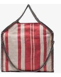 Stella McCartney - Red And Beige Falabella Stripe Linen Tote Bag - Lyst