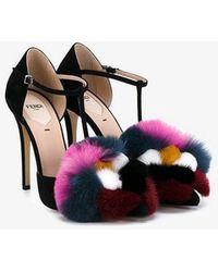 Fendi - Mink & Fox Fur 110mm T-strap Sandal - Lyst