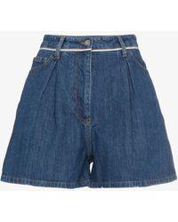 Miu Miu - Denim Mini Pleat Front Shorts - Lyst