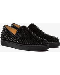 Christian Louboutin - Black Roller Boat Spike Leather Trainers - Lyst