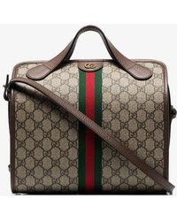 73884b158427 Gucci - Beige And Brown Supreme Ophidia Mini Duffle Bag Tote - Lyst