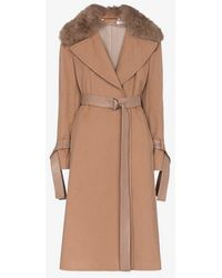 ADEAM - Belted And Faux Fur Collared Wool Coat - Lyst