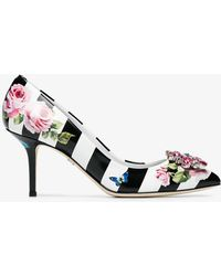 Dolce & Gabbana - Floral Print Striped Court Shoes 60 - Lyst