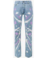 Mirco Gaspari - Light Blue 501 Paint Splattered Jeans - Lyst