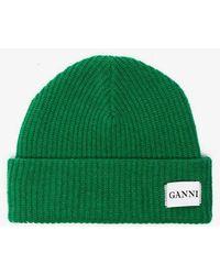 Ganni - Green Knit Logo Beanie - Lyst