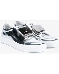 Acne Studios - Silver Leather Adriana Trainers - Lyst