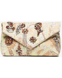 Dries Van Noten - Beige Crystal Embellished Fabric Clutch - Lyst