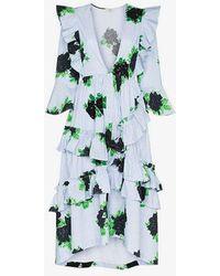 Ganni - Pine Gingham Ruffle Dress - Lyst