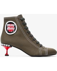 Miu Miu - 55 Canvas Boots With Logo Patch - Lyst