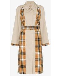 Burberry - Guisley Check Print Panelled Cotton Trench Coat - Lyst