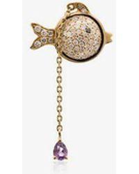 Yvonne Léon - Hanging Diamond Fish 18k Gold Earring - Lyst