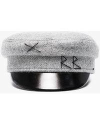 Ruslan Baginskiy - Grey Wool Baker Boy Hat With Embroidery - Lyst