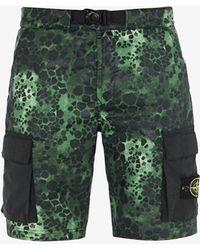 Stone Island - Alligator Camouflage Print Shorts - Lyst