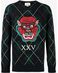 Gucci | Monster Argyle Knitted Jumper | Lyst