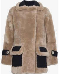 NAVRO - Shearling Coat With Large Lapels - Lyst