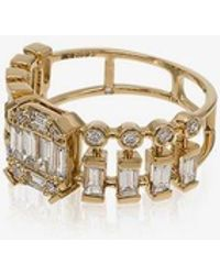 SHAY - 18kt Yellow Gold Illusion Centre Dot-dash Diamond Ring - Lyst