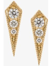 Lizzie Mandler - 18kt Gold 'kite' Diamond Stud Earrings - Lyst