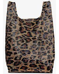 a6e5abf25e71 Ashish - Black And Brown Classic Big Leopard Sequin Tote Bag - Lyst