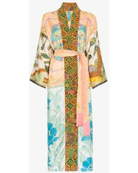 Rianna + Nina - Long Printed Silk Kimono Robe - Lyst
