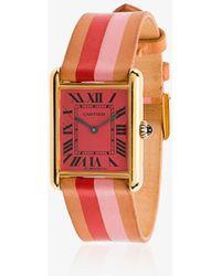 La Californienne - Pink Fraise Peony Varsity Cartier Tank Leather Watch - Lyst