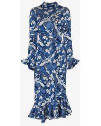 Erdem - Alta Japanese Floral Print Midi Dress - Lyst