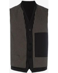 Ann Demeulemeester - Stripe Pattern And Button Detail Cotton-blend Waistcoat - Lyst