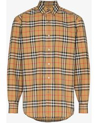 Burberry - Check Print Cotton Long Sleeve Shirt - Lyst
