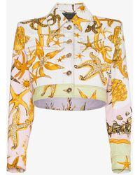 Versace - Cropped Denim Jacket With Marine Print - Lyst