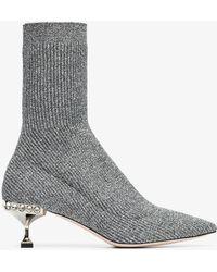 Miu Miu - Marl Grey 55 Sock Heeled Boots - Lyst