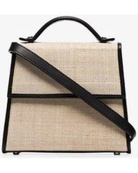 Hunting Season - Black And Neutral Top Handle Straw And Leather Bag - Lyst