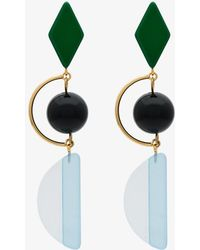 Marni - Green And Blue Resin And Metal Hook Earrings - Lyst