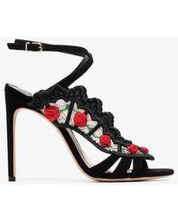 Sophia Webster - Black Carmen 100 Floral Embellished Lace Suede Sandals - Lyst