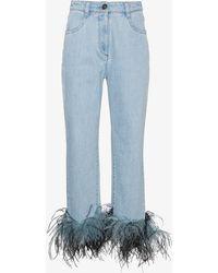 Prada - Ostrich Feather Cuff Jeans - Lyst