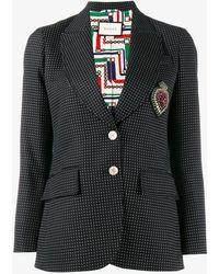 Gucci | Crest Embellished Polka Dot Blazer | Lyst