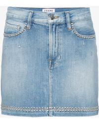 FRAME - Blue Le Studded Denim Mini Skirt - Lyst