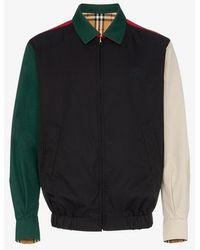 Burberry - Check Panelled Reversible Cotton Bomber Jacket - Lyst