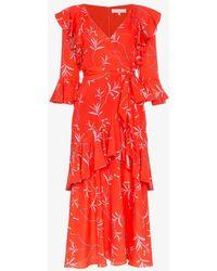 Borgo De Nor - Aiana Ruffle Print Midi Dress - Lyst
