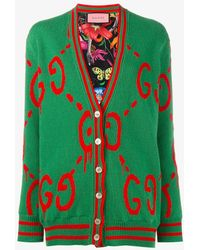 Gucci - Reversible 'ghost' Logo Cardigan - Lyst