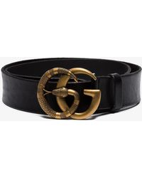a706debfdca Gucci - Black Marmont Snake GG Brooch Leather Belt - Lyst