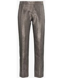 Chloé - Lame Metallic Cotton Blend Trousers - Lyst