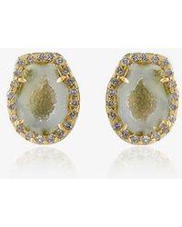 Kimberly Mcdonald - Green Geode Stud Earrings With Diamonds - Lyst