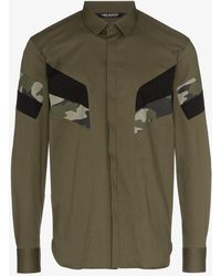 Neil Barrett - Green Camouflage Panelled Cotton Blend Shirt - Lyst